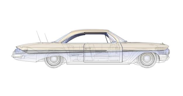 Oude amerikaanse auto driedimensionale computerillustratie, gecombineerd met de technische contouren van het model. 3d-rendering.