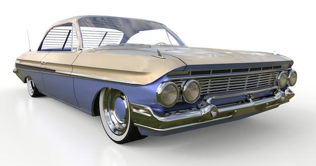 Oude amerikaanse auto in uitstekende staat. 3d-rendering.