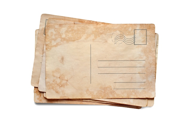 Oude ansichtkaarten. kopieer ruimte. geïsoleerd op wit.