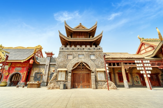Oude architectuur in chinese stijl, hainan, china.