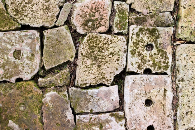 Oude baksteen bestrating achtergrondclose-up