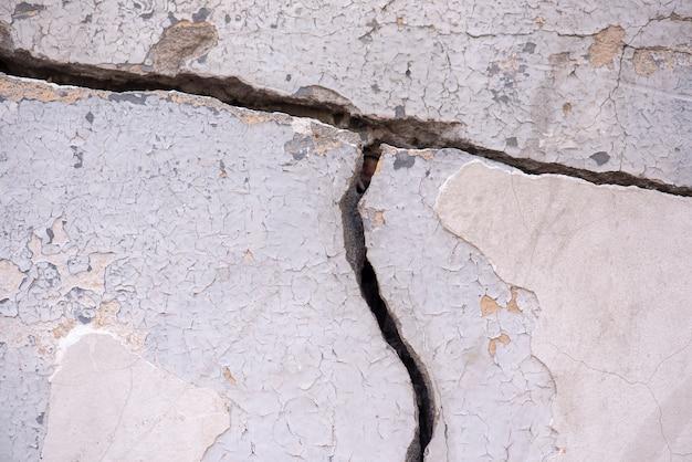 Oude betonnen muur met diepe grote scheur als achtergrond of textuur