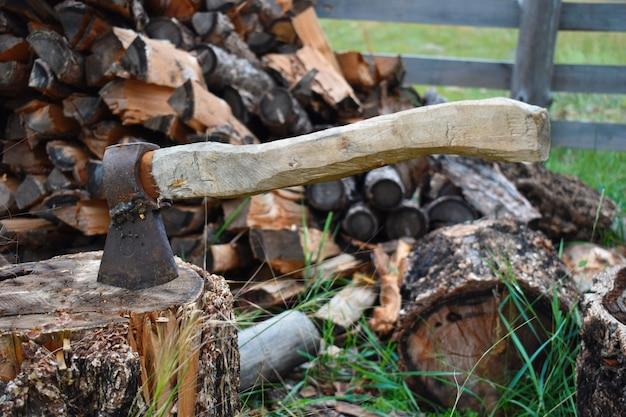 Oude bijl met houten handvat op stomp