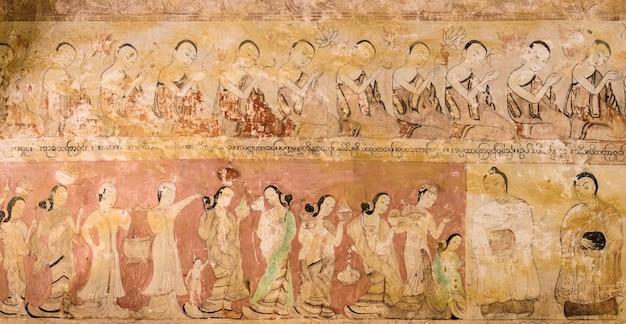 Oude birmese muurschildering in bagan tempel, myanmar