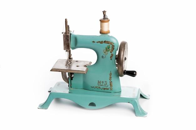 Oude blauwe naaimachine