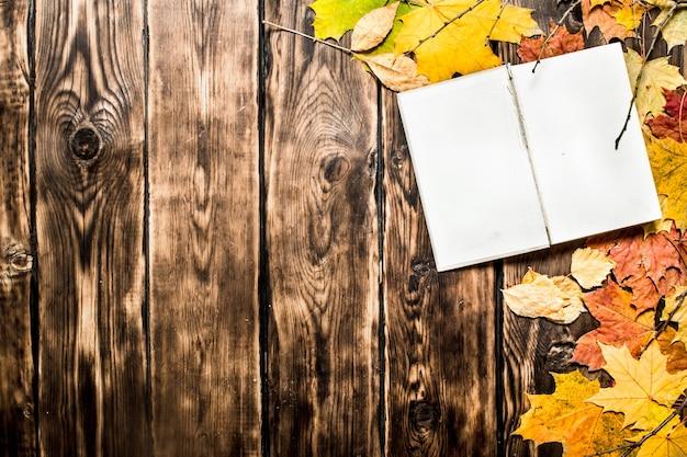 Oude boeken en herfstbladeren op houten achtergrond