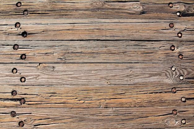 Oude bruine houten bestrating achtergrond