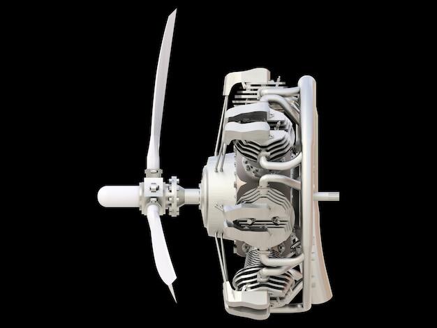 Oude circulaire vliegtuig verbrandingsmotor met propeller en bladen. 3d-weergave.