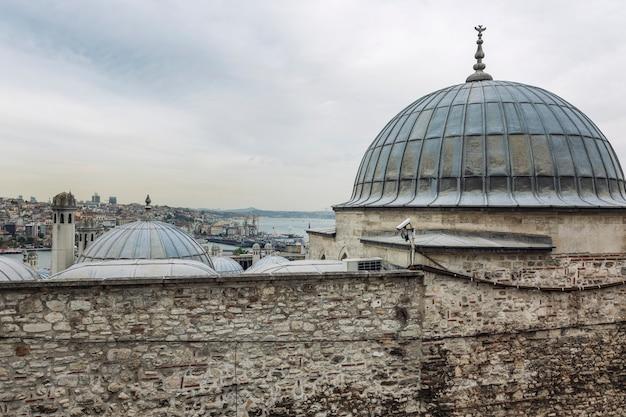 Oude daken van moskeeën in istanbul tegen de achtergrond van een sombere lucht