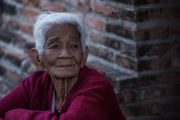 Oude dame op wallbrick backgrouns