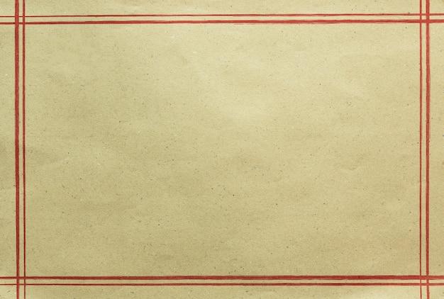 Oude document textuur met rood lijnkader, abstracte achtergrond