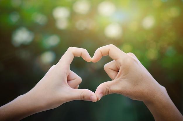 Oude en jonge handen in de vorm van een hart