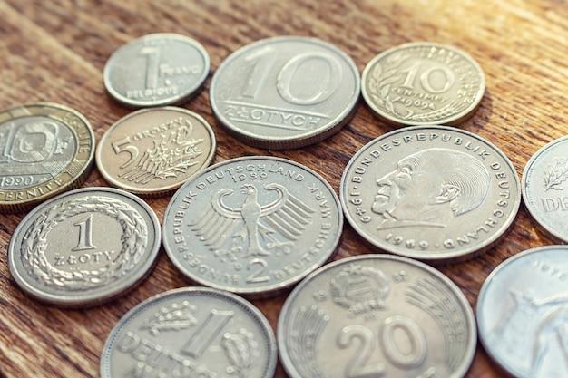 Oude europa munten close-up