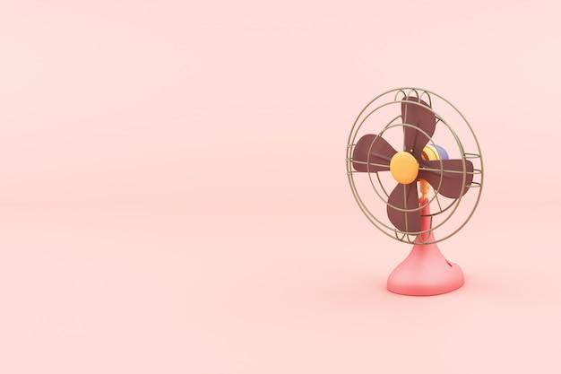 Oude fans in roze kleur 3d-rendering