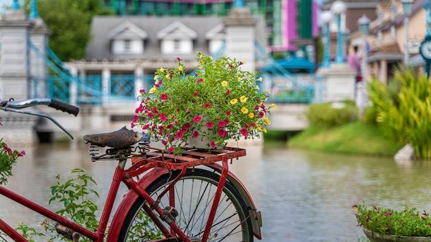Oude fiets met bloemenmand