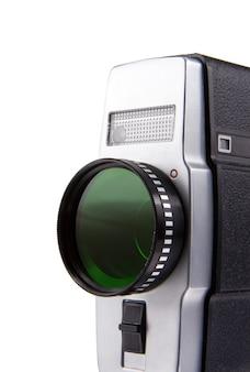Oude filmcamera geïsoleerd op witte achtergrond