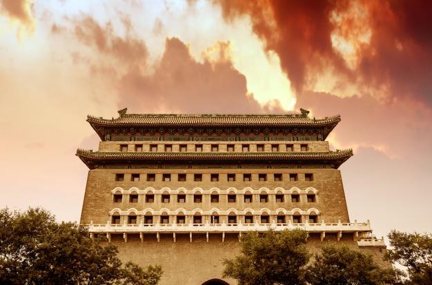 Oude gebouwen in qianmen-straat, peking