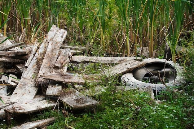 Oude gebroken raad en autoband door de rivier in riet, milieuvervuilingconcept