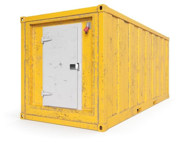 Oude gele gekoelde container die op wit wordt geïsoleerd. 3d-weergave