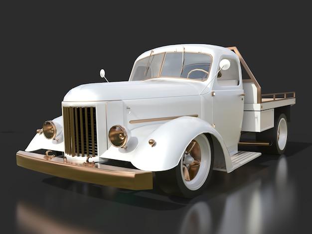 Oude gerestaureerde pick-up. pick-up in de stijl van hot rod. 3d illustratie witte auto op een zwarte achtergrond.