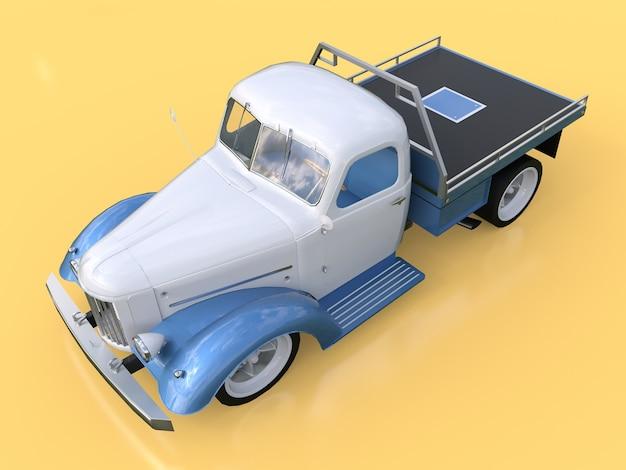 Oude gerestaureerde pick-up. pick-up in de stijl van hot rod. 3d illustratie. witte en blauwe auto op een gele achtergrond.