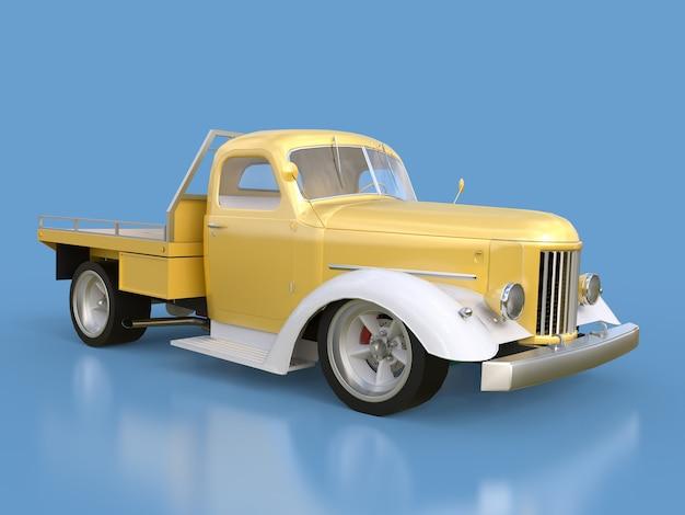 Oude gerestaureerde pick-up. pick-up in de stijl van hot rod gouden-witte auto op een blauwe achtergrond.