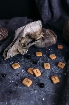 Oude hondenschedel houten runen en stenen op de heksentafel