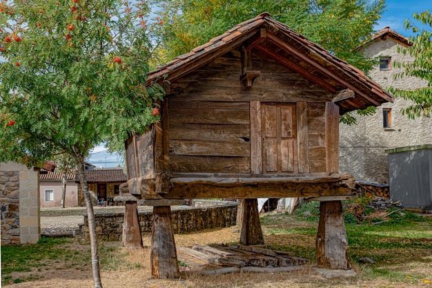 Oude houten graanschuur in een dorp