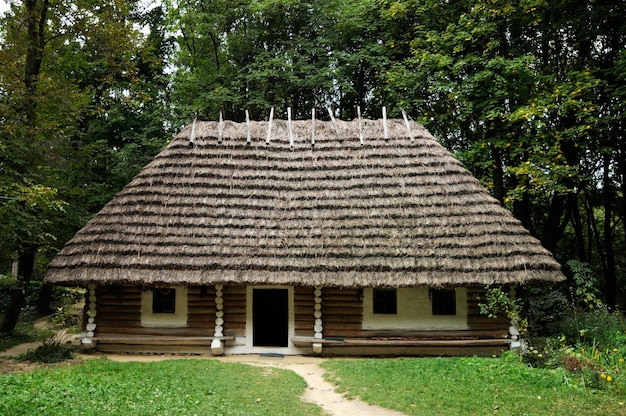 Oude houten hut bedekt met stro