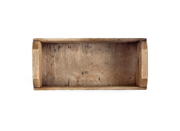 Oude houten kist geïsoleerd op een witte achtergrond. platliggend, bovenaanzicht