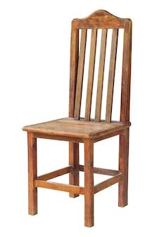 Oude houten stoel die op wit met het knippen van weg wordt geïsoleerd
