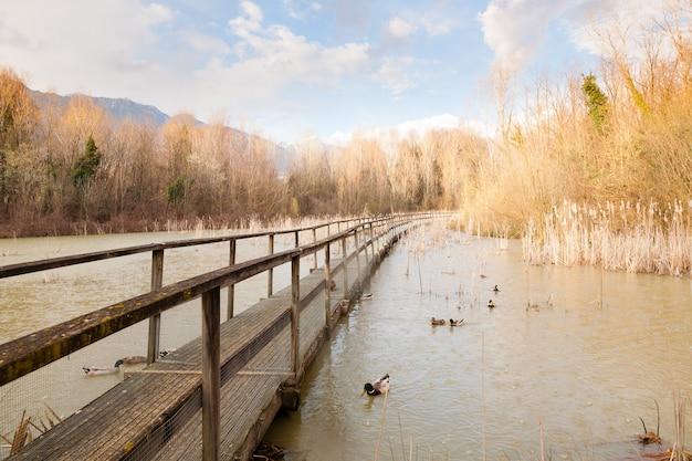 Oude houten voetgangersbrug op het panorama van de lagune