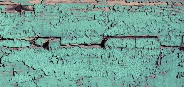 Oude houtstructuur. verweerde houten plank, mint kleur verf en scheuren.