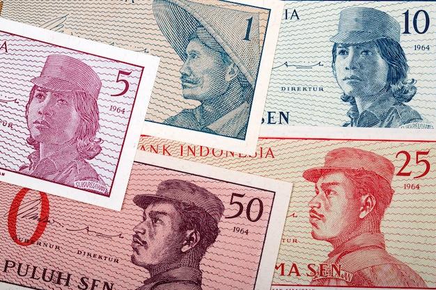 Oude indonesische geld zakelijke achtergrond
