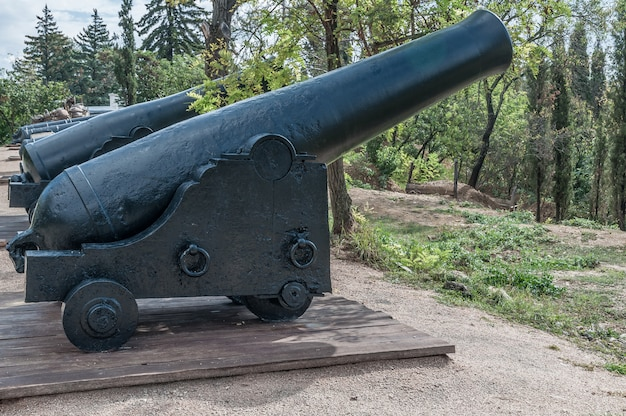 Oude kanonnen op houten vervoer en defensieve fortkernen. museum.
