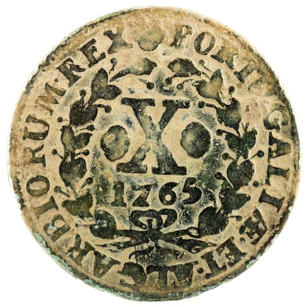 Oude koperen munt van portugal