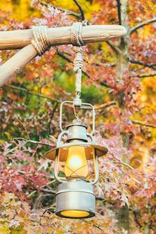 Oude lantaarn met buitenmening in autum seizoen
