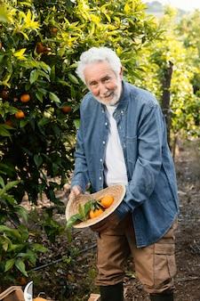 Oude man buiten naast zijn sinaasappelbomen