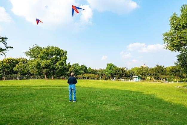 Oude mensen vliegeren op het gazon van recreatiepark