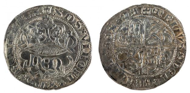 Oude middeleeuwse zilveren munt van de koning enrique iv. real. bedacht in segovia. spanje.