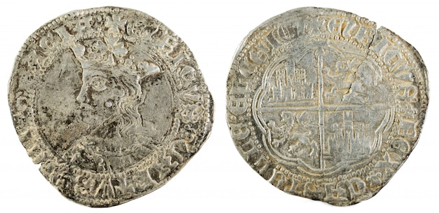 Oude middeleeuwse zilveren munt van de koning enrique iv. real. bedacht in toledo. spanje.