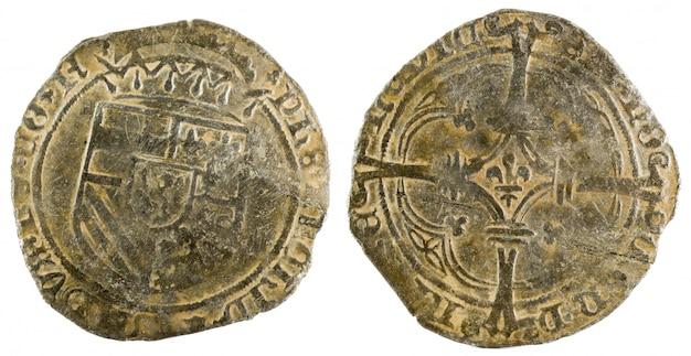 Oude munt van de koning felipe i. patard. bedacht in namen. spaanse lage landen.