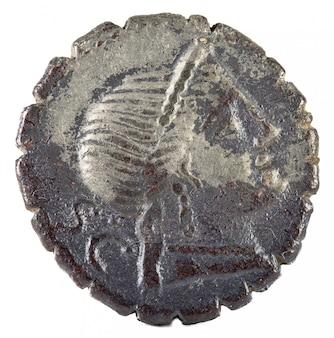 Oude oude zilveren munt met roest