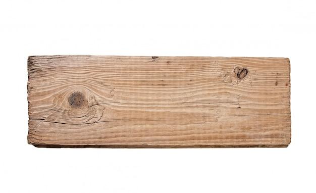 Oude plank van hout dat op witte achtergrond wordt geïsoleerd