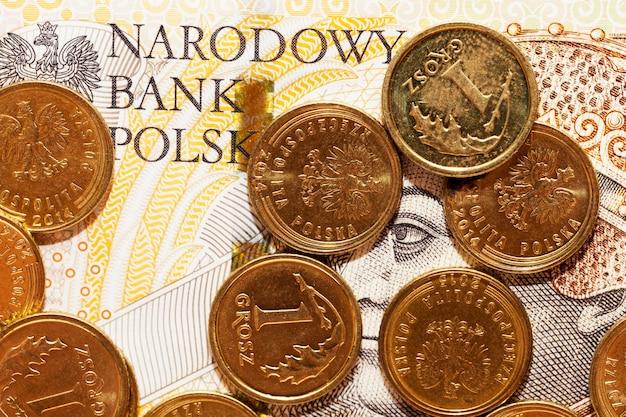 Oude poolse zlotys van verschillende denominaties en typen die bij elkaar liggen
