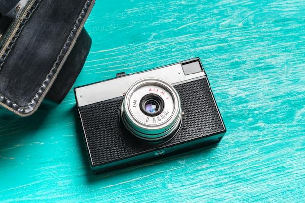 Oude retro camera bovenaanzicht