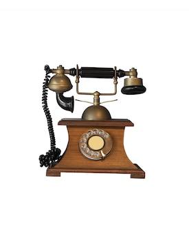 Oude retro telefoon met houten onderdelen