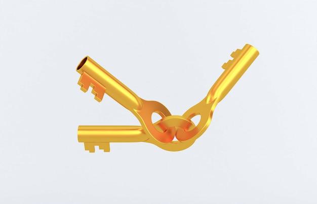 Oude roestige gouden deursleutels die op wit worden geïsoleerd. 3d-weergave