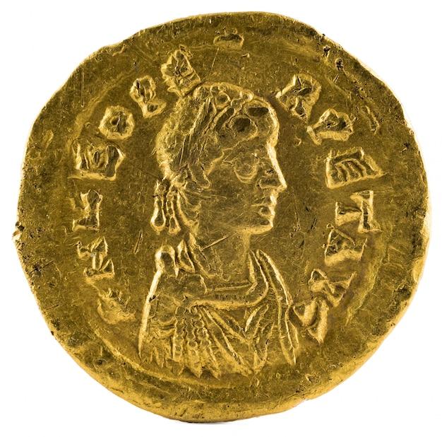 Oude romeinse gouden tremissis munt van keizer leo i