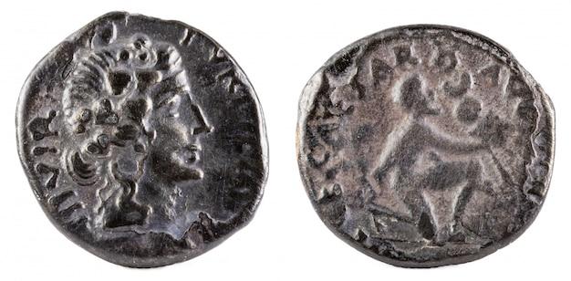 Oude romeinse zilveren denarius van de familie petronia.
